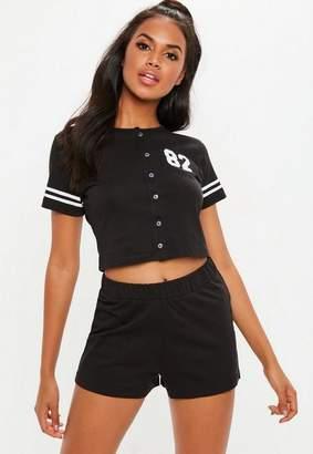 Missguided black varsity slogan short sleeve button through short pyjama set, Black