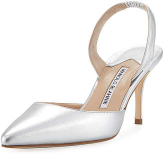 Manolo Blahnik Carolyne Metallic Leather Mid-Heel Slingback Pump