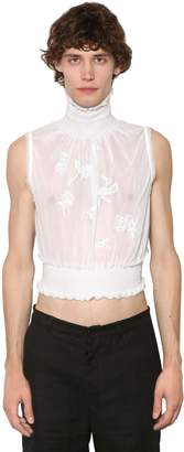 Ann Demeulemeester Embroidered Sleeveless Cotton Turtleneck