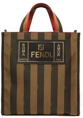 556816d4840e Fendi Logo Patch Striped Canvas Tote - Mens - Brown Multi