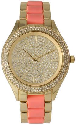 OLIVIA PRATT Olivia Pratt Womens Rhinestone Bezel Rhinestone Dial Gold Coral Two Tone Bracelet Watch 15295
