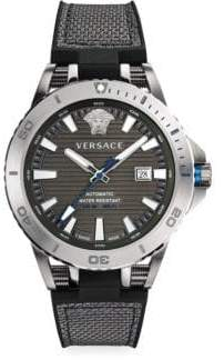 Versace Tech Diver Stainless Steel, Leather& Rubber Strap Watch