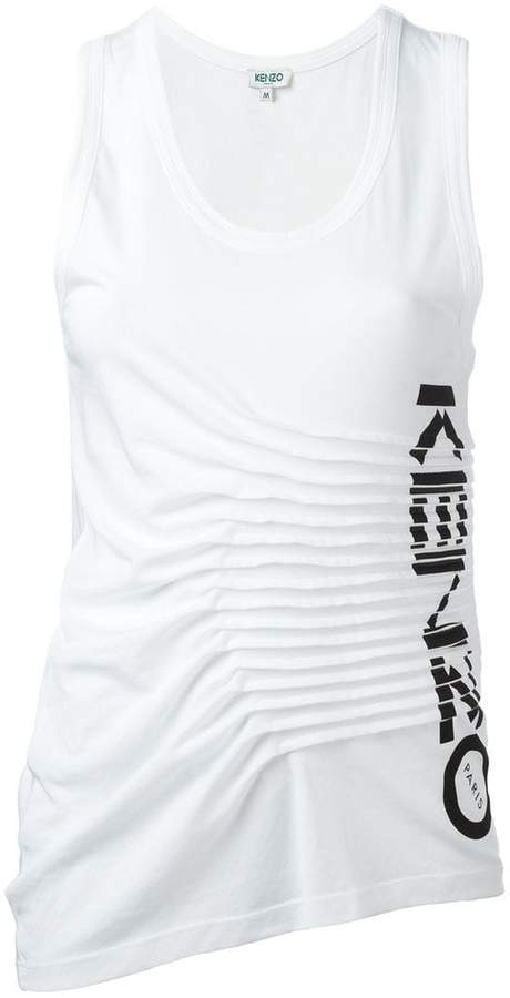 Kenzo ruched logo print tank top