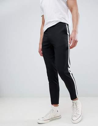 Burton Menswear Tapered Smart Pants With Side Stripe In Black