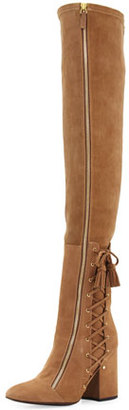 Laurence Dacade Suede Laced-Side Over-the-Knee Boot, Beige $1,800 thestylecure.com