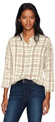 RVCA Women's Drift Away 3/4 Sleeve Button Up Shirt