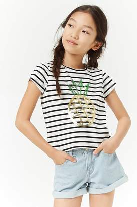 Forever 21 Girls Sequin Striped Pineapple Tee (Kids)