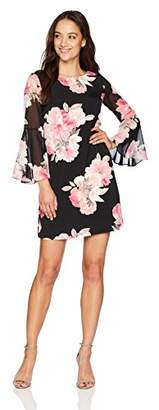 Jessica Howard Women's Petite Printed Bell Sleeve Shift