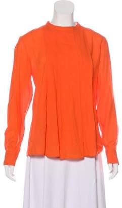 Hermes Pleated Virgin Wool Blouse