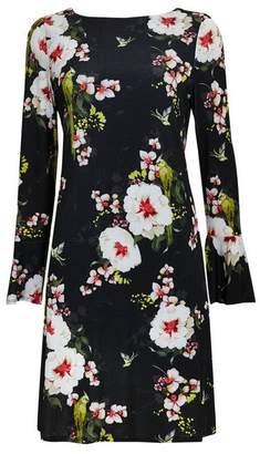 4635e61addb at Wallis · Wallis Black Floral Print Jersey Shift Dress