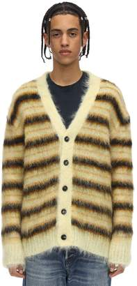 Marni STRIPED MOHAIR BLEND KNIT CARDIGAN