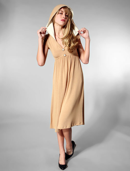 Fresh Karma Hooded Buttons Dress in Tan