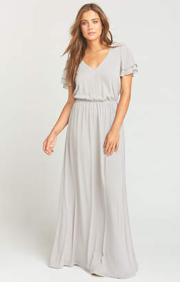 Show Me Your Mumu Michelle Flutter Maxi Dress ~ Dove Grey Chiffon