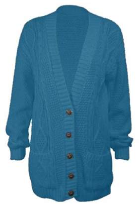 OgLuxe Women's Long Sleeve Cable Knit Cardigan (M/L (UK 12-14 EU 40-42 US 8-10), )