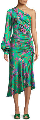 Etro One-Sleeve Shirred Floral-Print Hammered Silk Midi Dress