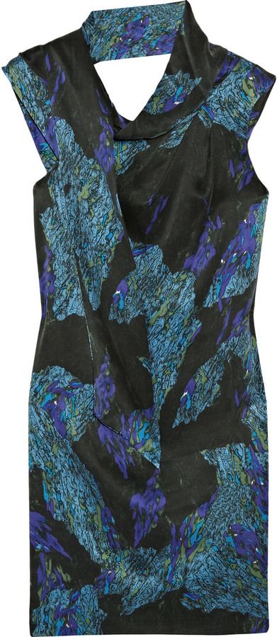 Edun Printed brushed-silk dress