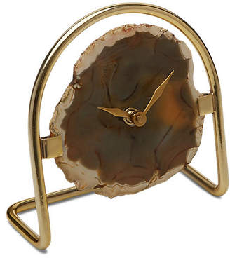 "One Kings Lane 6"" Reya Table Clock - Natural Agate/Brass"