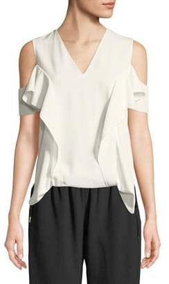 Elie Tahari Ellen Ruffle Cold-Shoulder Blouse
