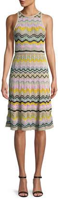 M Missoni Wave Crochet Fit & Flare Dress