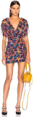 Saloni Brooke Dress in Gold Banana Leaf | FWRD