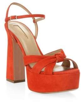 Aquazzura Baba Orange Suede Plateau Platform Sandals