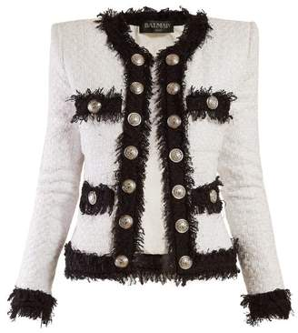 Balmain Bi Colour Tweed Jacket - Womens - White Black