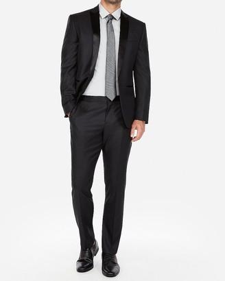 Express Slim Black Dobby Wool-Blend Tuxedo Pant