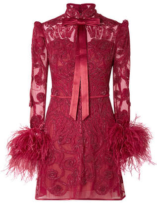 Belle Epoque Zuhair Murad Feather-trimmed Embellished Lace And Tulle Mini Dress - Claret