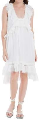 Max Studio Linen And Silk Ruffled Dress