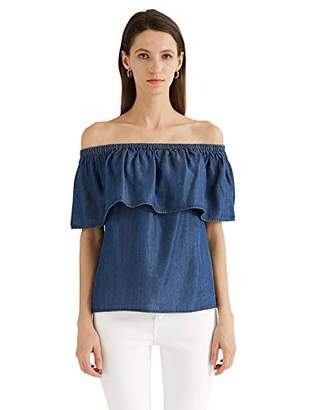 MEHEPBURN Women's Off Shoulder Ruffle Denim Top Tencel Chambray Shirt Blouse Large