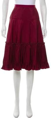 Oscar de la Renta Pleated Knee-Length Skirt