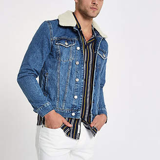 River Island Stonewash fleece collar denim jacket
