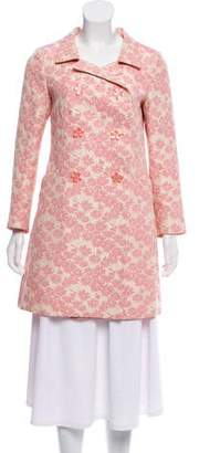 Tara Jarmon Double-Breasted Jacquard Coat