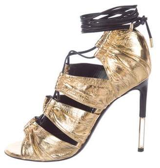 Tom Ford Metallic Caged Sandals Gold Metallic Caged Sandals