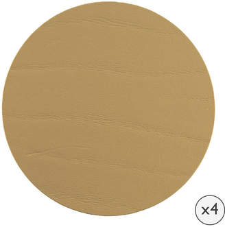 A By Amara A by Amara - Round Leather Coasters - Set of 4 - Gold