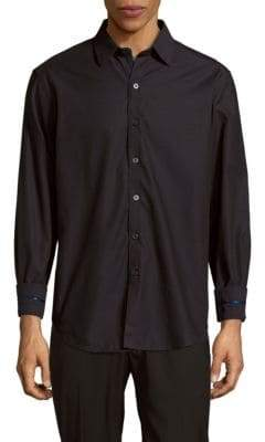 Robert Graham Venetian Masks Embroidered Cotton Button-Down Shirt