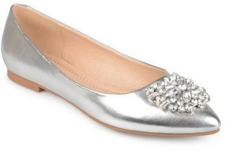 Brinley Co. Women's Faux Leather Pointed Toe Jewel Flats