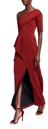 Aidan Mattox One-Shoulder Short-Sleeve Asymmetric Peplum Column Gown