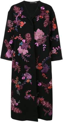 Josie Natori floral embroidered felted coat