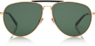Jimmy Choo FIN Gold and Black Metal Aviator Sunglasses