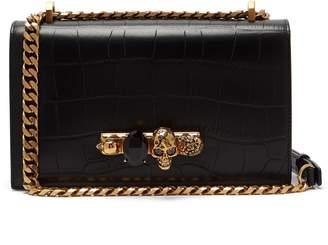 Alexander McQueen Jewelled crocodile-effect leather shoulder bag