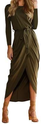 Limsea Women Blouse Womens Long Sleeve Wrap Dress Crew Neck Tie Wasit Slim Maxi Dress by Limsea