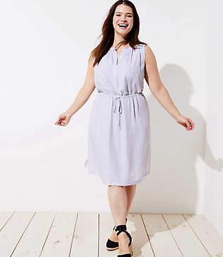 LOFT Plus Striped Sleeveless Shirtdress