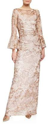 Rickie Freeman For Teri Jon Sequin Lace Trumpet-Sleeve Gown