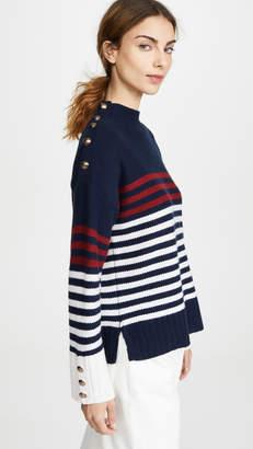 Autumn Cashmere Breton Stripe Mock Neck