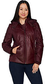 Halston H by Lamb Leather Motorcycle PufferJacket