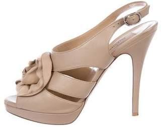 Valentino Flower-Embellished Slingback Sandals