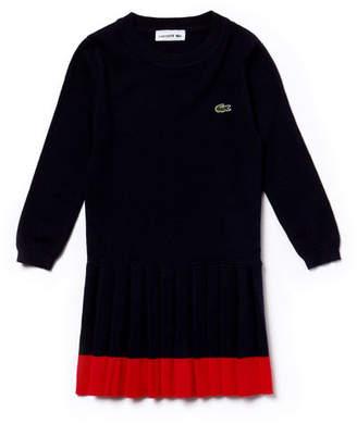 Lacoste Girls' Contrast Band Pleated Jersey Sweatshirt Dress