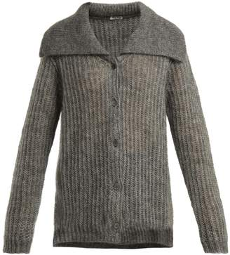 Miu Miu Mohair-blend ribbed-knit cardigan