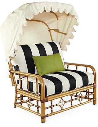Celerie Kemble Mimi Cuddle Chair & Canopy - Black/White Stripe - CELERIE KEMBLE